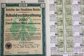 German 2000 Mark Govt Treasury Bond,  Coupons 1922 - Hyper - Inflation Period photo