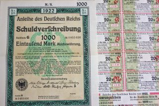 German 1000 Mark Govt Treasury Bond,  Coupons 1922 - Hyper - Inflation Period photo
