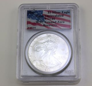 2001 911 1 Oz American Silver Eagle Wtc Ground Zero Recovery 1 Of 531 |wm photo