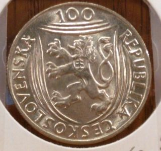 1951 Czechoslovakia100 Korun Uncirculated Silver Coin,  Km 33 - 30th Anniv.  Comm. photo