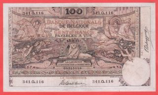 100 Francs Montald Xf 1911 With Arabesque Rare Note photo