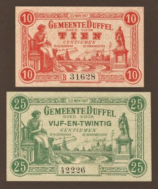 Belgium,  Emergency Money Duffel,  10 Ct.  And 25 Ct. ,  22/11/1917,  Unc photo
