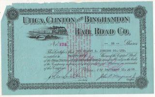 Utica Clinton And Binghamton Railroad Co York Ny 1935 Stock Certificate photo
