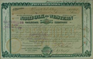 S791 Norfolk & Western Railroad Company 1887 Stock Certificate Green photo