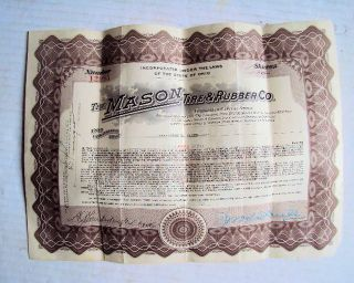 1920 Mason Tire And Rubber Company Stock Certificate - 3 Shares Preferred photo