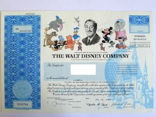 Disney Stock Certificate,  Featuring Mickey Mouse,  Donald Ducks,  And More photo