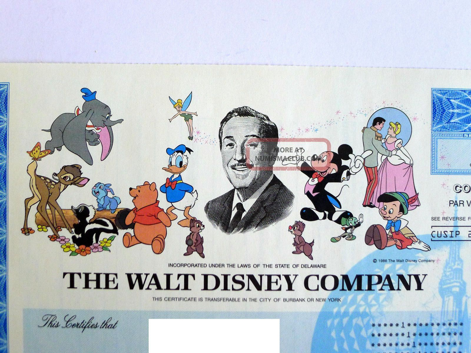 Disney Stock Certificate Featuring Mickey Mouse Donald Ducks And More