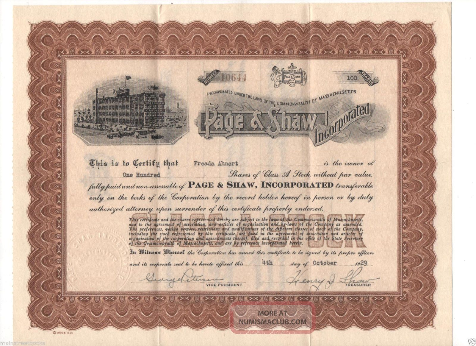Nefarious Stock Certificate,  Letter 1929 Candy Company Page & Shaw,  Inc Stocks & Bonds, Scripophily photo