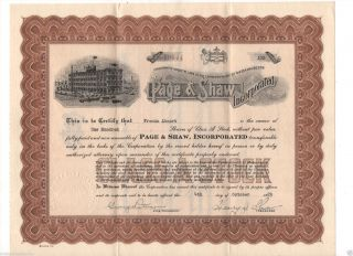 Nefarious Stock Certificate,  Letter 1929 Candy Company Page & Shaw,  Inc photo