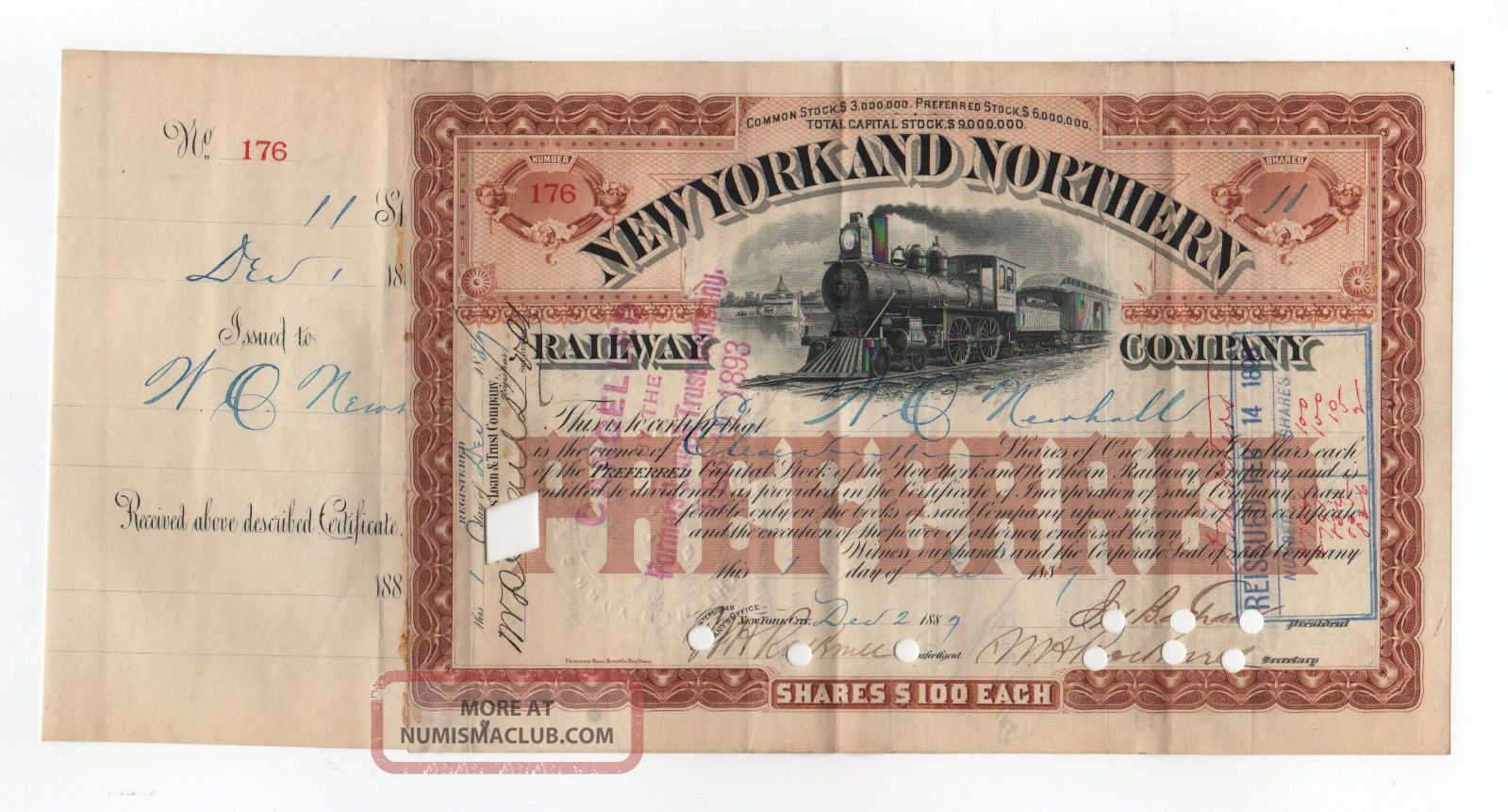 1887 York And Northern Railway Company Stock Certificate Transportation photo