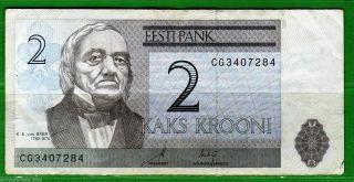 Estonia - 2006 K.  E.  Von Baer 2 Krooni Banknote P85 Avf photo