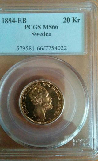 Sweden 1884 Eb Gold 20 Kronor Pcgs Ms - 66 photo