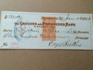 1873 $360 Cheque With Stamp Grocers & Producers Bank Usa photo