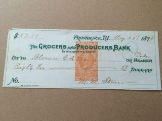 1873 $82.  59 Cheque With Stamp Grocers & Producers Bank Usa photo