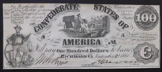 1861 T - 13 $100 Confederate Currency Paper Money Banknote Civil War Era photo