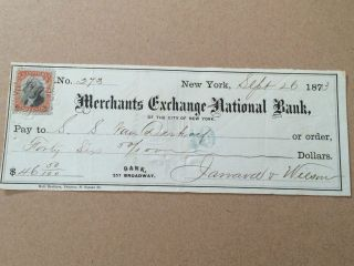 1873 $46.  50 Cheque With Postage Stamp From The Merchants Ex National Bank Usa photo