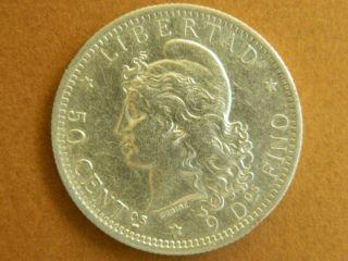 1883 Argentina 50 Centavos Silver Coin,  Real Photos photo