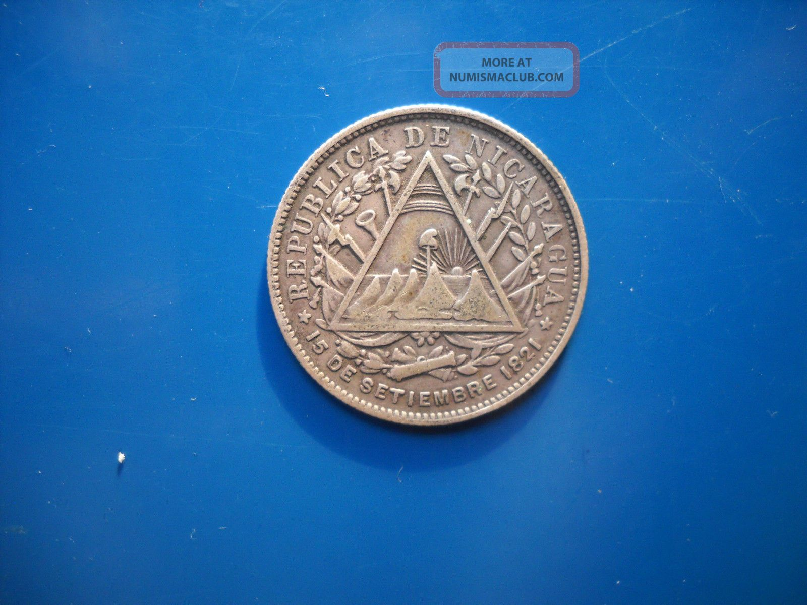 World Silver Coin Nicaragua 20 Cents Centavos 1891 Coins: World photo