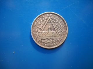 World Silver Coin Nicaragua 20 Cents Centavos 1891 photo