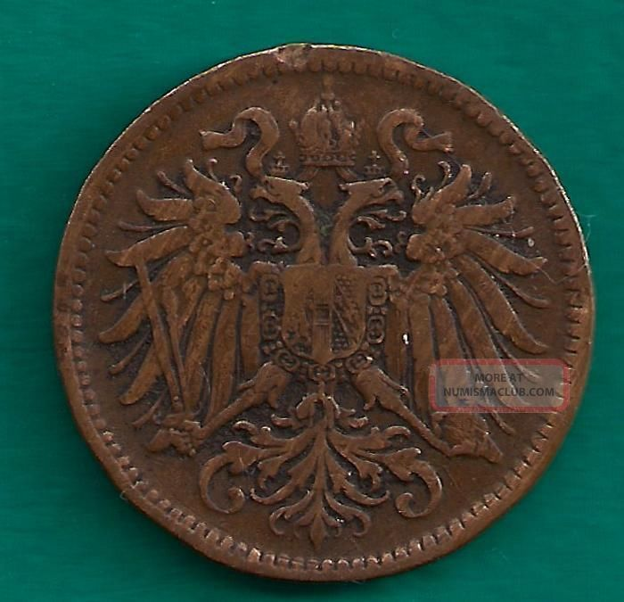 1896 Austria 2 Heller Austro Hungarian Empire Double Headed Eagle Bronze Coin