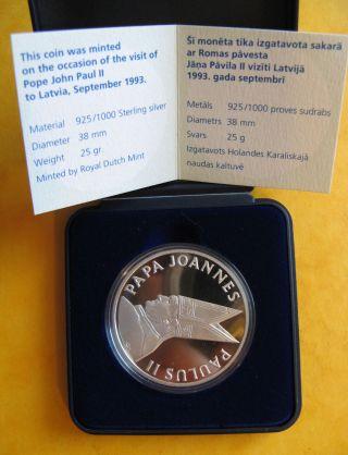 Vatican Pope John Paul Ii Visit In Latvia Aglona 1993 Silver Medal Coin Proof photo
