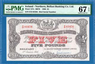 Northern Ireland,  Belfast Banking,  5 Pounds 1966,  Gem Unc - Pmg67epq,  P127c photo
