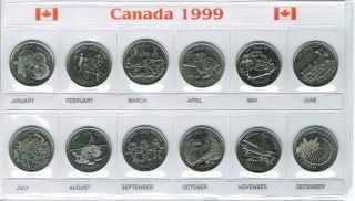 1999 Canadian Brilliant Uncirculated Uncertified Commemorative Twelve Quarters photo