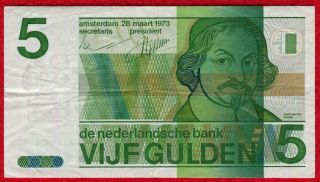 1973 Netherlands 5 Gulden Note 95a Vf - Xf photo