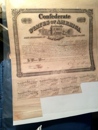 1863 Confederate $500 Bond Civil War Csa Hand - Signed Old Vintage Coupons Antique photo