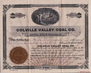 Colville Valley Coal Company Capital Stock Certificate Dated 1919 Shares 761 photo