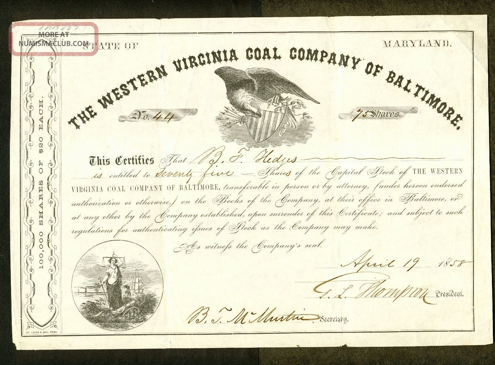 1858 Western Virginia Coal Company Of Baltimore Stock Certificate Stocks & Bonds, Scripophily photo