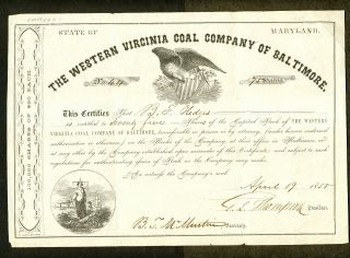 1858 Western Virginia Coal Company Of Baltimore Stock Certificate photo