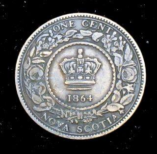 1864 Fine (f) Nova Scotia Large Cent - Cc183 photo