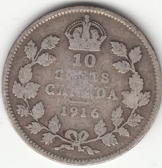 . 925 Silver 1916 George V 10 Cent Piece Vg 8 photo