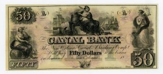 1800 ' S $50 The Canal Bank - Orleans,  Louisiana Note Ch.  Cu photo