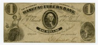 1861 $1 The Southern Manufacturers Bank - Richmond,  Virginia Note Civil War Era photo