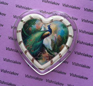 Silver Coin Heart,  Peacocks,