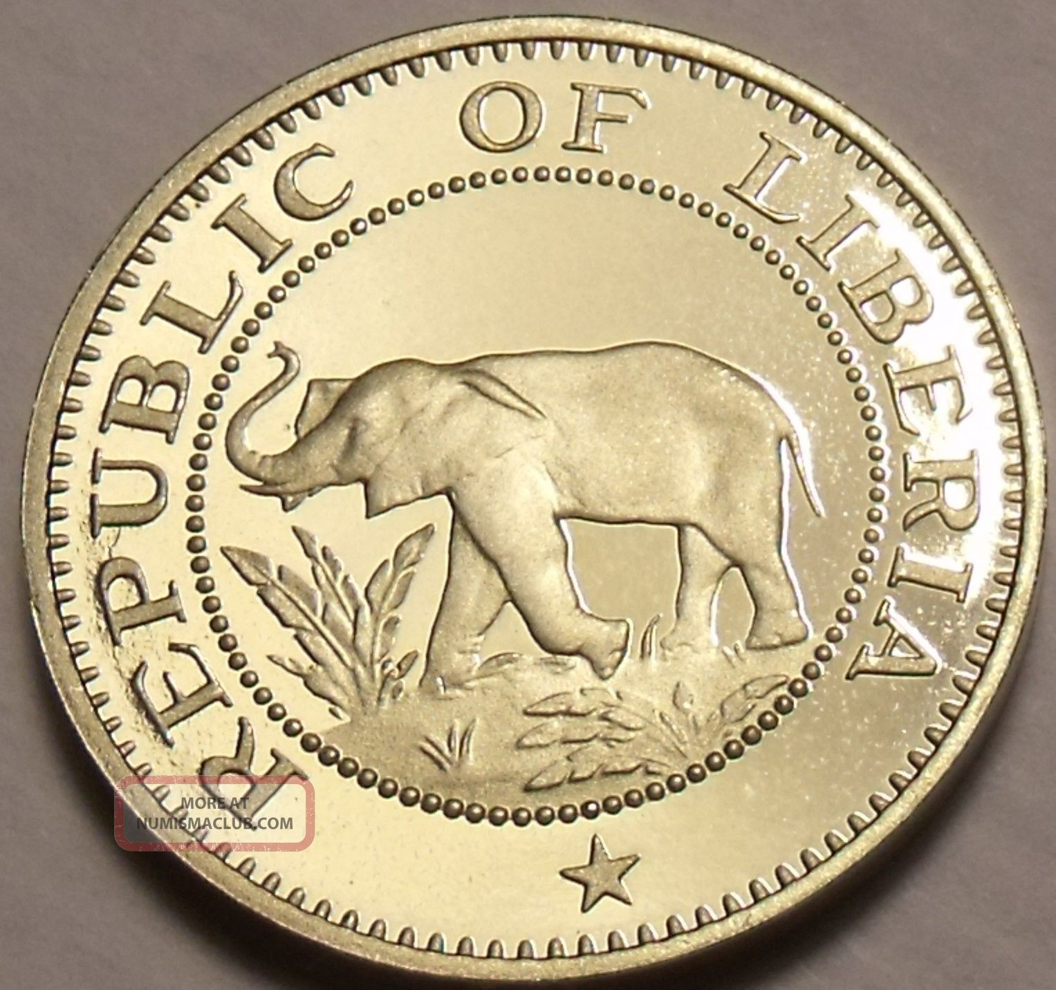 Extremely Rare Proof Liberia 1977 5 Cents Elephant Coin Only 920 Minted Shi Coins: World photo