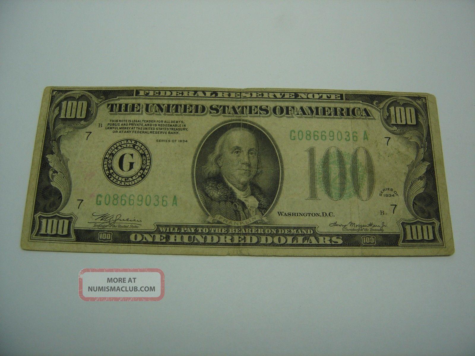 Us $100 - One Hundred Dollar Bill Note Cash Money 1934 B