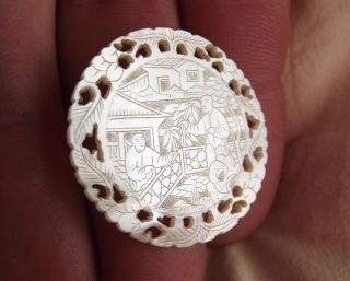 Antique 19c Mop Finely Hand Carved Chinese Token Canton.  Vintage Gaming Chip N°4 photo