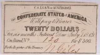 Civil War Confederate $500 Bond C.  S.  Loan 1861 $20 Coupon Richmond Va 120 photo