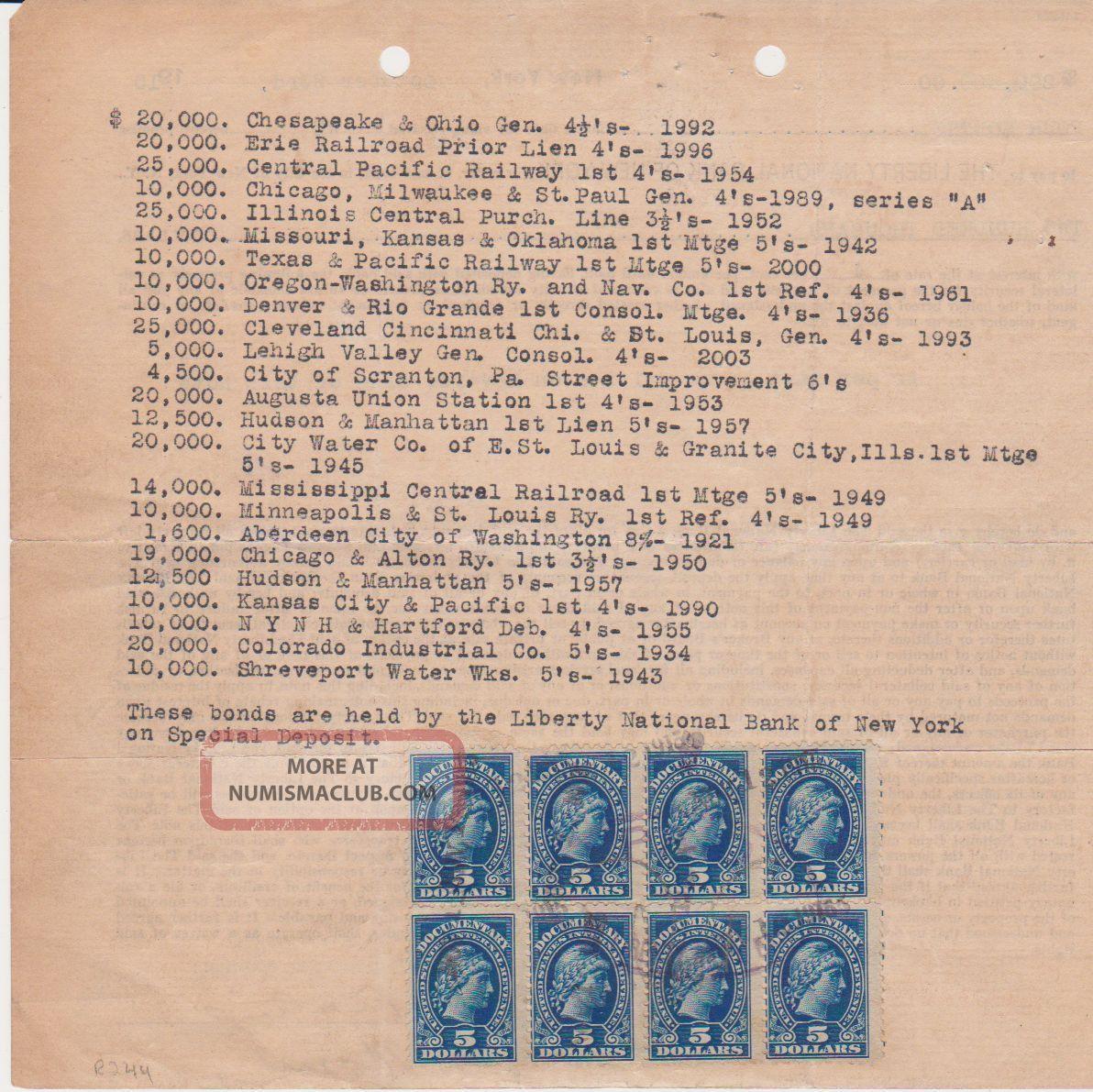 1 Month Loan Www 1monthloan Co Uk: 1915 $200000. Railway Company Bond Stock Certificate Loan
