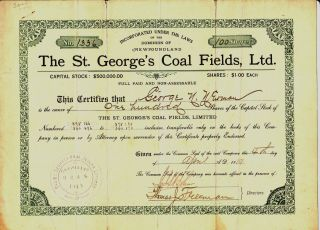 1919 St.  George ' S Coal Fields,  Ltd. ,  Newfoundland Stock Certificate photo