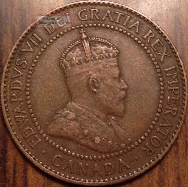 1910 Canada Large Cent Edward Vii Vf Details Very Loook