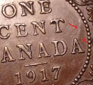 Canada 1917 Large Cent George V Xf - Au Die Clash photo