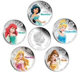 2015 Hollywood Princess Ariel Aurora Cinderella Belle Jasmine Silver Plated Coin photo