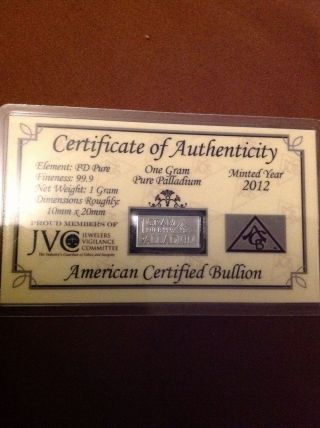 American Certified Bullion 1 Gram Pure Palladium 99.  9 Bullion photo