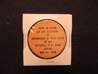 1956 Mitchell,  South Dakota Wooden Nickel Token - Mitchell,  Sd 75th Wood Coin Blk photo