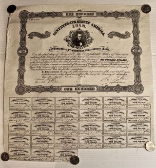 Historical Confederate 100 Dollar War Bond Issued December 10 1862 W/27 Coupons photo