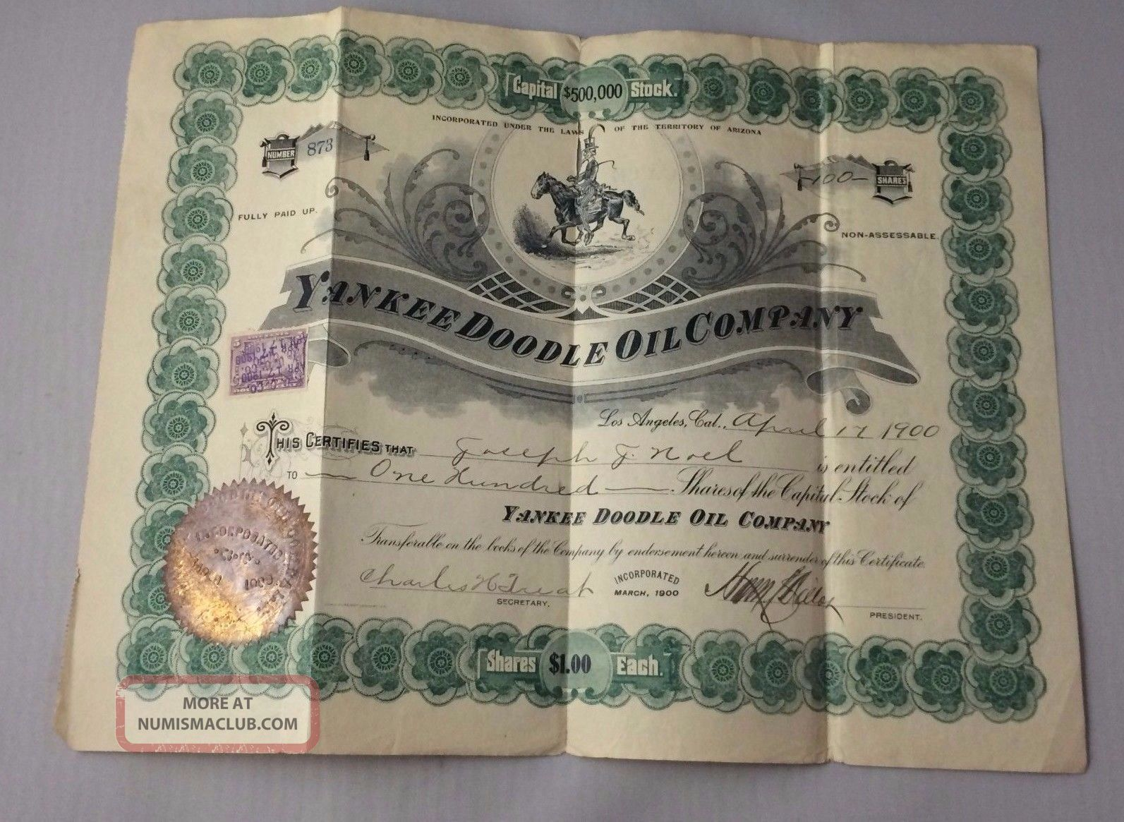 1900 Stock Certificate Yankee Doodle Oil Company Los Angeles,  Cal.  100 Shares Stocks & Bonds, Scripophily photo